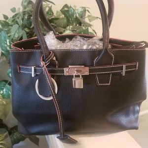 NEW Michaela Black Padlock Satchel Purse